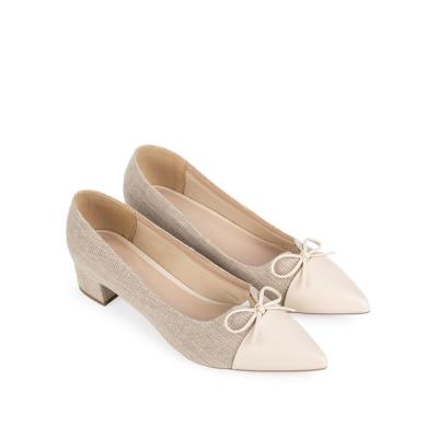 High-heeled shoe with a thin bow BN0134