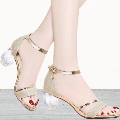 Giày sandal mũi vuông gót vuông ánh kim loại