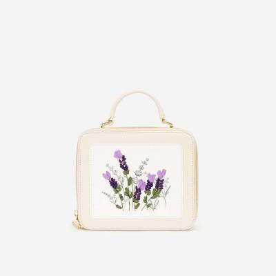 Túi Hộp Thêu Hoa Lavender - SAT 0259 - Màu Kem